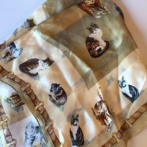 Vintage Adrienne Vittadini silk cat scarf